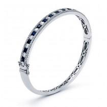 18K White Gold Sapphire Bangle
