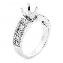 18K White Gold Semi-Mount for a 0.625ct Round Center