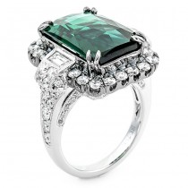 18K White Gold Blue/Green Tourmaline Ring