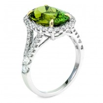 18K Two-tone Gold Green Tourmaline Ring