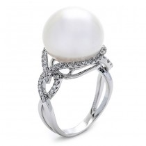 18K White Gold White Pearl Band