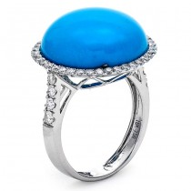 18K White Gold Turquoise Ring