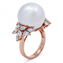 18K Rose Gold White Pearl Band