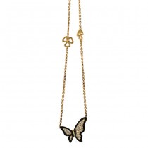 18K Yellow Gold Black Diamond Necklace