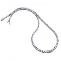 18K White Gold Diamond Tennis Necklace