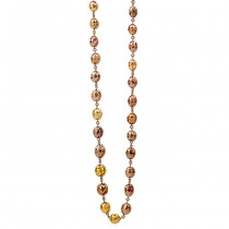 18K Rose Gold Multi Colored Fancy Diamond Bead Necklace