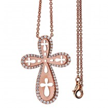 Rose Gold and White Diamond Cross Necklace