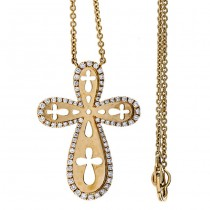 18K Yellow Gold Diamond Cross Necklace