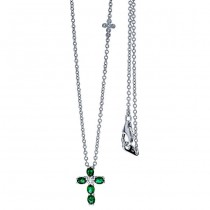 18K White Gold Emerald Cross Necklace