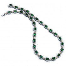18K Two-tone Emerald Diamond Necklace