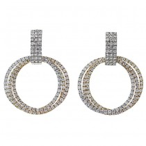 18K Tri-color Gold White Diamond Earrings
