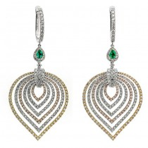 18K Tri-Color Gold Emerald Earrings