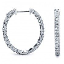 18K White Gold Diamond Hoops