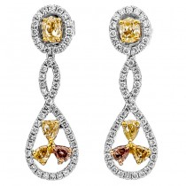 18K Two-tone Gold Yellow Diamond Earrings
