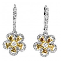18K Two-tone Fancy Diamond Earrings
