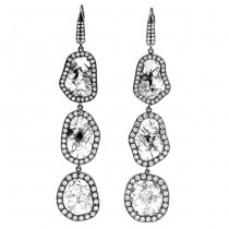 18K Black Rhodium Long Fancy Diamond Slice Earrings