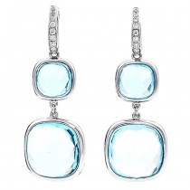 18K White Gold Blue Topaz Earrings