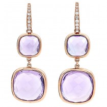 18K Rose Gold Amethyst Earrings