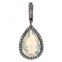 18K Black Rhodium Opal Pendant
