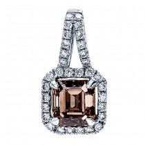18K White Gold Brown Diamond Pendant