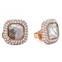18K Rose Gold Fancy Diamond Slice Studs