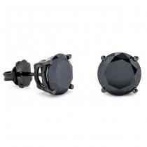 14K Black Rhodium Black Diamond Earrings