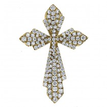 18K Yellow Gold Diamond Cross Pendant