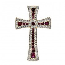 18K Yellow Gold Ruby Cross Pendant