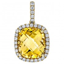 18K Yellow Gold Citrine Stone Pendant