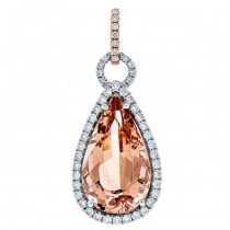 18K Two-tone Gold Morganite Pendant