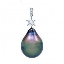 18K White Gold Black Pearl Pendant