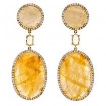 18K Yellow Gold Fancy Sapphire Slice Earrings