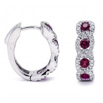 18K White Gold Ruby Hoops