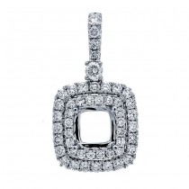 18K White Gold Pendant Semi-Mount for a 6.5mm Cushion Center