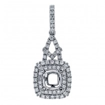 18K White Gold Pendant Semi-Mount for a 6.0mm Round Center