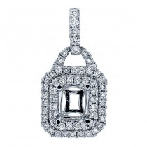 18K White Gold Pendant Semi-Mount for a 6.0x5.0mm Emerald Cut Center