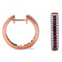 18K Rose Gold Ruby Earrings