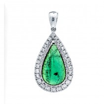 18K White Gold Cabochon Green Tourmaline Pendant