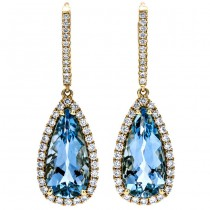 18K Yellow Gold Aquamarine Earrings
