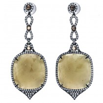 18K Black Rhodium Fancy Sapphires Slice Earrings