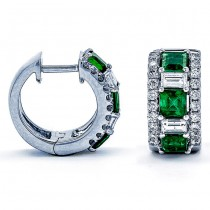 18K White Gold Emerald huggies