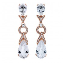 18K Rose Gold White Topaz Earrings