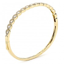 18K Yellow Gold and White Diamond Bangle