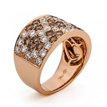 Rose Gold Brown and White Diamond Band
