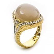 18K Yellow Gold Silver Grey Moonstone Ring