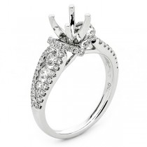 18K White Gold Semi-Mount for a 0.75ct Round Center