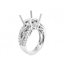 18K White Gold Semi-Mount for a 5.00ct Round Center