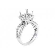 18K White Gold Semi-Mount for 3.00ct Round Center