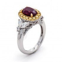 Ruby and Yellow and White Diamond Band
