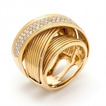Yellow Gold White Diamond Band